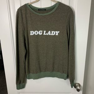 Wildfox dog lady green pullover sweater size small